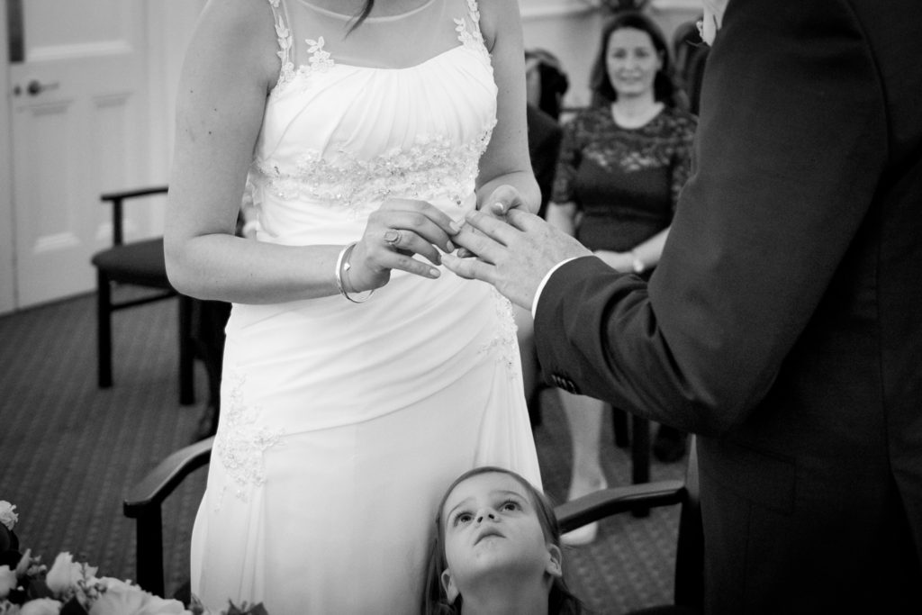 bride places ring on finger