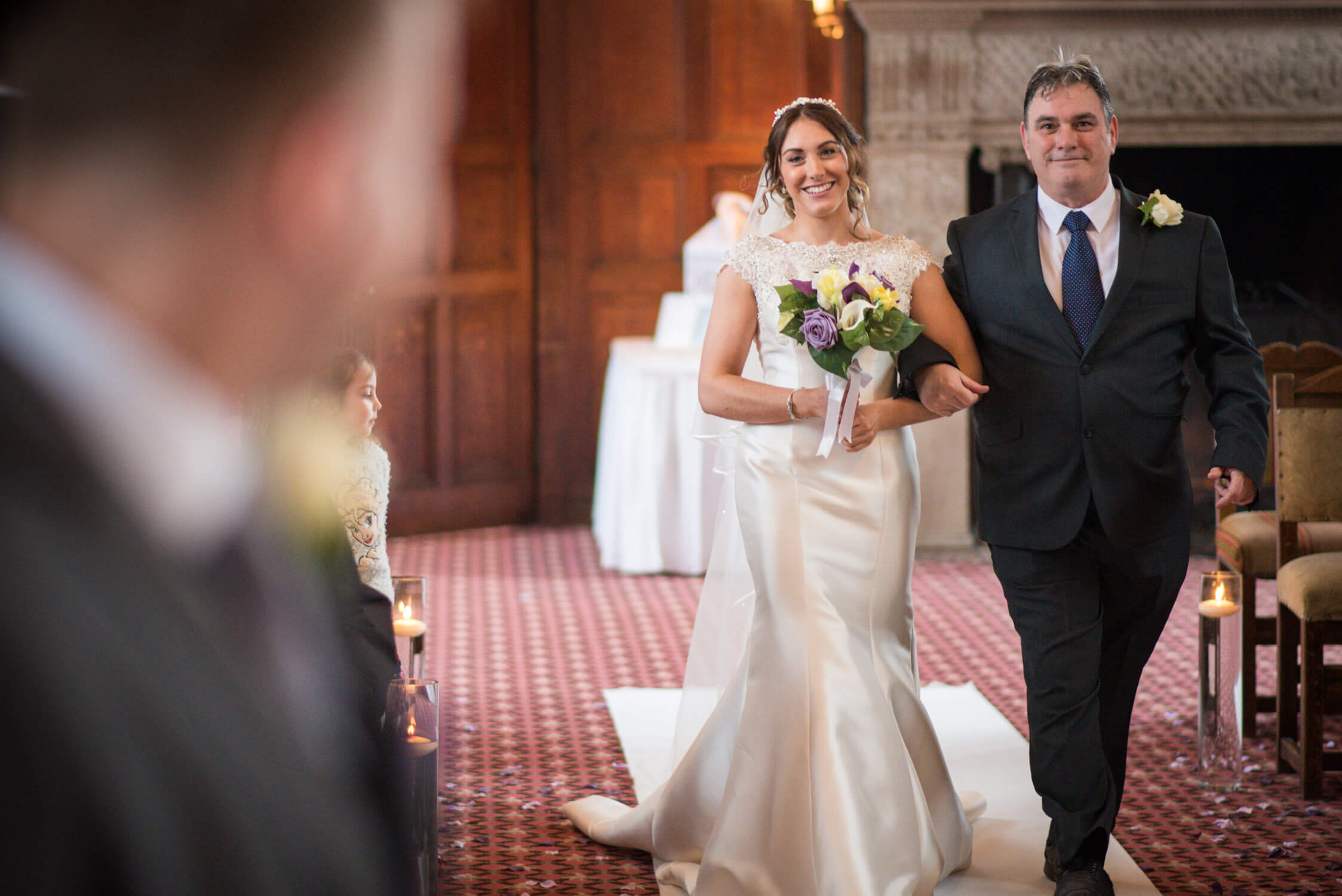 Walking up the aisle at Tylney Hall